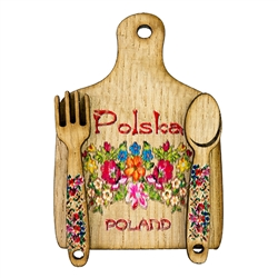 "Great kitchen magnet made of wood featuring a traditional Lowicz paper cut design. Size approx 2"" x 2.75"".  Made In Poland."
