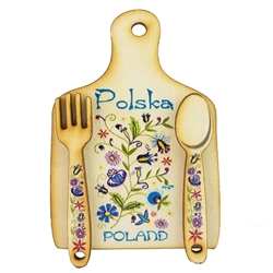 "Great kitchen magnet made of wood featuring a traditional Kashubian floral design. Size approx 2"" x 2.75"". Made In Poland."