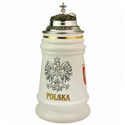 "Stunning white stein with gold trim featuring the Polish Eagle on three sides. Pewter cap.  Holds 1/2 Liter and is 8.75"" tall."