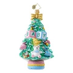Embrace the pretty soft colors of this Christmas tree ornament, perfect for the baby of the family!
