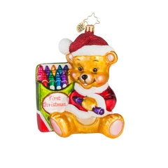 Inspire your newborn to be an artist with this adorable bear. Your little one will love growing up with this darling ornament on your tree each year!