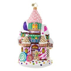 Sugary towers and minty walls adorn this candy castle!  No kingdom would be complete without this delightful abode.  Colorfully decorated in a candy palette, and hand finished with sparkling glitter, this mansion looks good enough to eat!