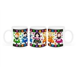 Colorful ceramic mug featuring 5 Polish folk girls. Made in Poland.