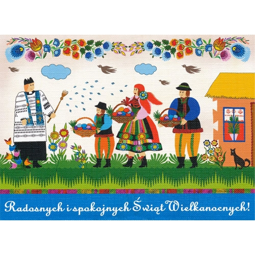 Polish art center polish folk easter card radosnychblessing beautiful glossy easter card featuring the traditional blessing of the easter baskets wesolych swiat wielkanocnych m4hsunfo