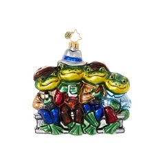 Four friendly amphibians are enjoying a pleasant afternoon repast in this cheerfully unique Christopher Radko ornament!