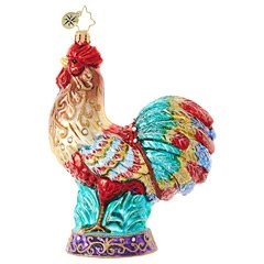 Our colorful feathered rooster is proud as a peacock! He's crowing to the world that Christmas is on its way.