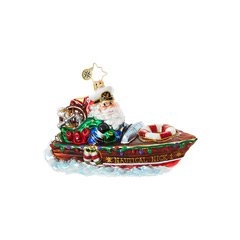 Proudly wearing his captain's hat, Kris is cruising at top speeds in his sleek speedboat. You'll love the fun-filled detail in this clever Christmas ornament!