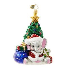 This playful pachyderm is full of holiday hugs and gifts aplenty. He's here to celebrate your baby's first magical Christmas.