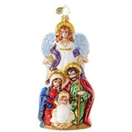 An angel watches over the the Holy Family, marking the very first Blessed Christmas event. You'll love the heavenly hues and sparkling highlights on this beautiful ornament!