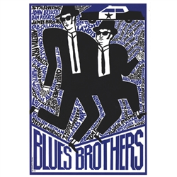 "Post Card: Blues Brothers, Film Promotion designed by Andrzej Krajewski in 1974. It has now been turned into a post card size 4.75"" x 6.75"" - 12cm x 17cm."