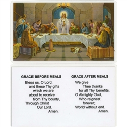 Grace Before and After Meals Prayer Holy Card Plastic Coated. Picture is on the front with the Prayer, text is on the back of the card.