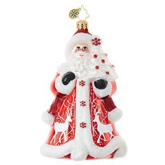 This king of crimson Christmas hastens with regal red flair in a robe embroidered with wintry white deer. A miniature flocked tree is his gift to thee!
