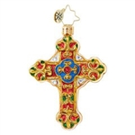A gilded and bejeweled cross makes an outstanding statement on any Christmas tree. Place it near the lights for reflective brilliance!