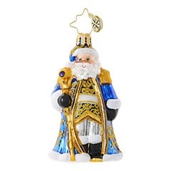 This could be St. Nick's most dazzling alternative outfit to date! Replete with a bejeweled scepter, he looks regal in his royal blue and gold regalia.