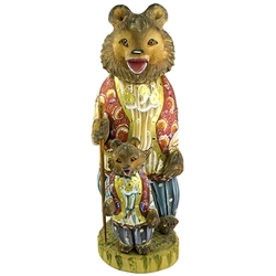 Bear collectors will find this hand carved and painted Russian bears set delightful. Our two Russian bears are painted in matching outfits which are highly detailed in paint.  The smaller bear is pegged onto the wood base and is removable for packing or