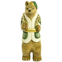 "Bear collectors will find this hand carved and painted Russian bear delightful. This carving is nicely detailed. Size approx 6.75"" x 2"" x 1.75"""