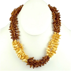 Lovely necklace composed of custard and light and honey amber. Irregular shaped amber bead size approx 6mm and smaller.  Amber and cloth closure.