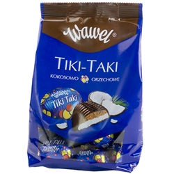 The name of these chocolates comes from the clackers toys that were popular in the 70's. The two small balls suspended on string that brought smiles to Polish children's faces were the inspiration for the name of this treat. Tiki Taki were first produced