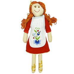 Gorgeous Kashubian cloth doll made in Gdansk. Our Lola is made with linen and yarn. Her apron is removable. The apron is embroidered with a traditional Kashubian floral design Her feet are decorated in golden ribbon.