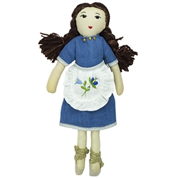 Gorgeous Kashubian cloth doll made in Gdansk. This doll is made with linen and yarn.  Her apron and dress are removable. The apron is embroidered with a traditional Kashubian floral design and her dress is decorated with three pieces of genuine amber.