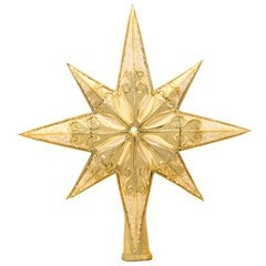 This shimmering gold star will be the perfect crowning glory for a Radko-laden Christmas tree! Impress your guests with a magnificent tree topper upon the highest bough.