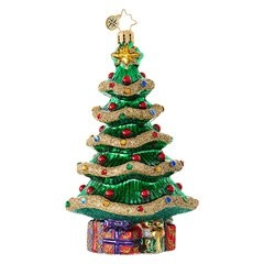 This unique Christmas tree showcases a sparkling garland of muted gold as well as multi-colored jewels to keep the season bright!