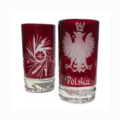 "Genuine Polish 24% lead crystal hand cut and engraved with the Polish Eagle and the word Polska. Set of 2. Size is 2.5"" - 6.5cm tall"
