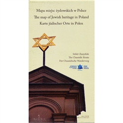 Two sided folded paper map.  Front side is a full size map of Poland with an alphabetical index on the side of place names. Back side is a map of the Chassidic Route in Eastern Poland with city/town  names. The map includes: open synagogues for visitors,