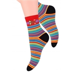 Folk is in fashion and these beautiful Polish hosiery featuring a Lowicz wycinanka floral and stripe design look really sharp. Made in Lowicz, Poland.