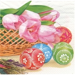 Celebrate the Easter season with these beautiful napkins. These original designs will make any table festive with these beautiful eggs and tulips. Three ply napkins with water based paints used in the printing process.