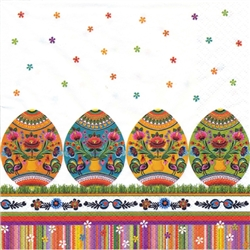 Celebrate the Easter season with these beautiful napkins. These original designs will make any table festive. Three ply napkins with water based paints used in the printing process.