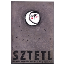 "Sztetl, Polish Promotion Poster designed by artist Ryszard Kaja. It has now been turned into a post card size 4.75"" x 6.75"" - 12cm x 17cm."
