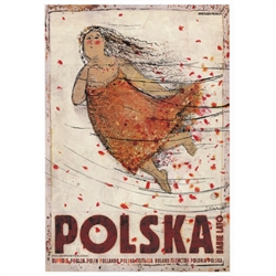 "Polska - Babie Lato, Polish Promotion Poster designed by artist Ryszard Kaja. It has now been turned into a post card size 4.75"" x 6.75"" - 12cm x 17cm."