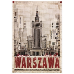 "Warszawa - Palace of Culture, Polish Promotion Poster designed by artist Ryszard Kaja. It has now been turned into a post card size 4.75"" x 6.75"" - 12cm x 17cm."