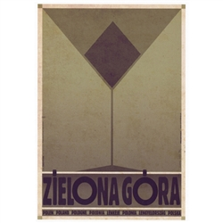 "Zielona Góra, Polish Promotion Poster designed by artist Ryszard Kaja. It has now been turned into a post card size 4.75"" x 6.75"" - 12cm x 17cm."