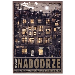 "Wroclaw Nadodrze, Polish Promotion Poster designed by artist Ryszard Kaja. It has now been turned into a post card size 4.75"" x 6.75"" - 12cm x 17cm."