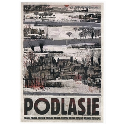 "Podlasie, Polish Promotion Poster designed by artist Ryszard Kaja. It has now been turned into a post card size 4.75"" x 6.75"" - 12cm x 17cm."