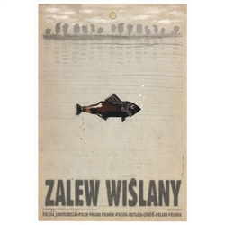 "Zalew Wislany, Polish Promotion Poster designed by artist Ryszard Kaja. It has now been turned into a post card size 4.75"" x 6.75"" - 12cm x 17cm."