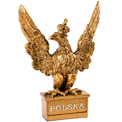 "Replica of the Polish Army Eagle.  Perfect size for displaying on a desk or in a cabinet.  Size is 8"" Tall x 6"" L x 2"" W.  Our eagle is made from a poly resin which allows for greater detail.  Metallic copper finish . Weighs approx 1lb and is securely"