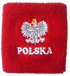 "Attractive stretch terry cloth wrist band featuring the Polish Eagle above the word ""Polska"" (Poland).