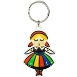 Attractive rubber key chain featuring a Polish dancer in a Lowicz costume.