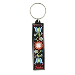 Attractive rubber key chain featuring a beautiful Kashubian floral pattern.