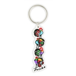 Attractive rubber key chain featuring a Lowicz rooster pattern.