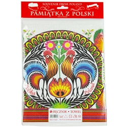 "Nice souvenir and packaging from Poland. 100% cotton kitchen towel with a printed rooster floral design. The towel size is approx 12"" x 18"" which is smaller than usual so it could also be used as a place mat."