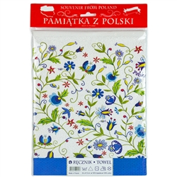 "Nice souvenir and packaging from Poland. 100% cotton kitchen towel with a printed Kashubian floral design. The towel size is approx 12"" x 18"" which is smaller than usual so it could also be used as a place mat."