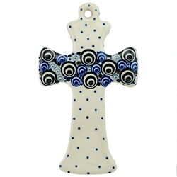 Collectors of Polish stoneware from Poland's premier company, Ceramika Artystyczna, will enjoy this unique item. The cross has a hole at the top for easy hanging.