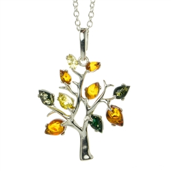 Beautiful sterling silver pendant and adjustable length chain decorated with multi-color amber leaves.