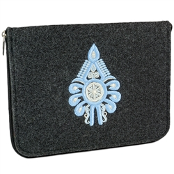 "The IPad cover is made of soft dark grey felt. The main decoration is an embroidered Parzenica (Mountaineer symbol).  Lined on the inside and zippered all the way round for easy opening. Inside dimension is approx 9.5"" x 7.5""."
