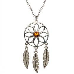 "Beautiful sterling silver pendant and adjustable length chain (17"" max.) decorated with a center of amber."