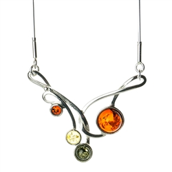 "Beautiful sterling silver pendant and adjustable length chain (16"" - 17"") decorated with multi-color amber cabochons."
